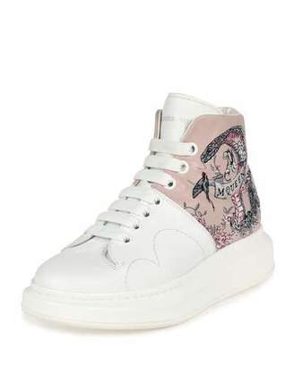 Alexander McQueen Embroidered Leather High-Top Sneaker, White/Pink $895 thestylecure.com