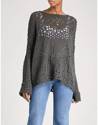 Free People Travelling Lace crocheted cotton jumper