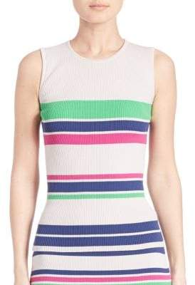 Tanya Taylor Striped Rib-Knit Tank Top
