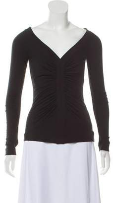 Charles Chang-Lima Plunging-Neck Lightweight Knit Top Black Plunging-Neck Lightweight Knit Top