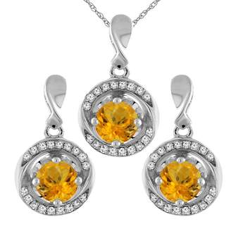 Sabrina Silver 14K White Gold Natural Citrine Earrings and Pendant Set with Diamond Accents Round 4 mm