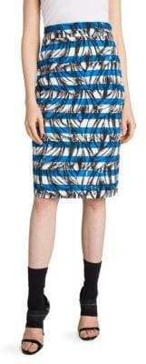 Prada Banana Stripe Print Cotton Pencil Skirt