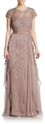 Adrianna PapellLace Cap-Sleeve Layered Gown