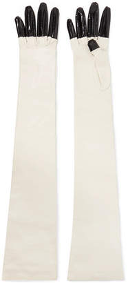 Gucci Rosa Patent And Textured-leather Gloves - Off-white