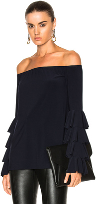Norma Kamali Ruffle Off Shoulder Top $245 thestylecure.com