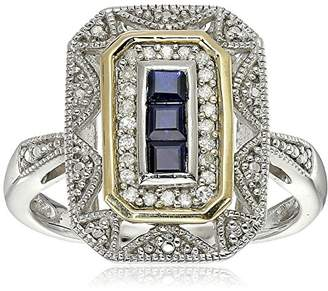 Sterling Silver and 14k Yellow Gold Blue Sapphire and Diamond-Accent Art Deco Style Ring (0.11 cttw