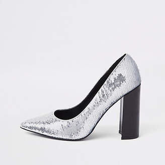 River Island Womens Silver sequin wrap around court shoes