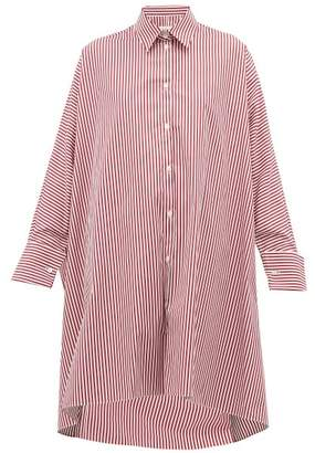 Maison Margiela Striped Oversized Cotton Shirt - Womens - Burgundy Multi