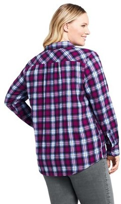 Lands' End Women's Plus Size Long Sleeve Flannel Button Down Shirt
