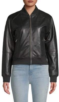 William Rast Genuine Leather Bomber Jacket