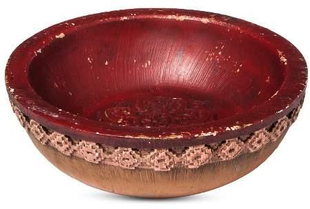 Carved Polyresin Round Decorative Bowl Orange - (7