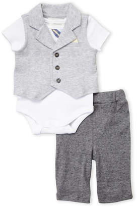 Baby Essentials Miniclasix (Newborn Boys) 3-Piece Knit Vest & Pants Set