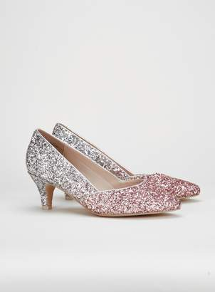b7c1309cb265 Evans WIDE FIT Silver Glitter Court Shoes