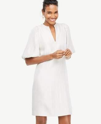 Ann Taylor Petite Metallic Puff Sleeve Dress