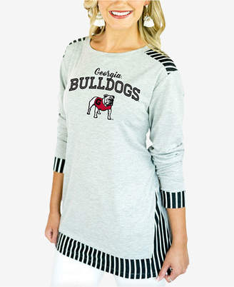 Couture Gameday Women Georgia Bulldogs Striped Panel Long Sleeve T-Shirt