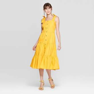 Who What Wear Women's Sleeveless Square Neck Tiered Button Front A Line Midi Dress