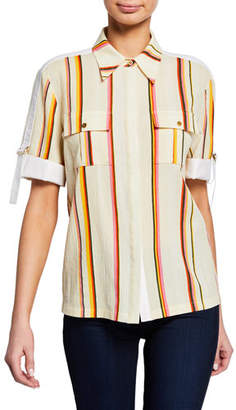 Tory Burch Striped Button-Front Roll-Sleeve Two-Pocket Shirt