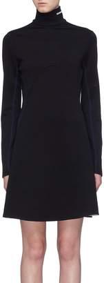 Calvin Klein Logo embroidered virgin wool turtleneck dress