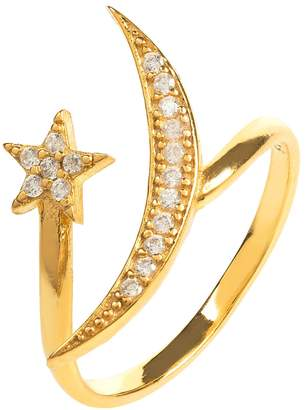 Latelita London - Moon & Star Ring Gold White Cz