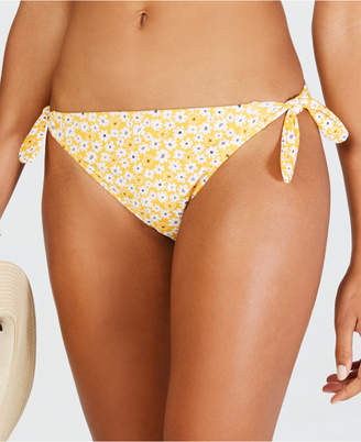 California Waves Mellow Yellow Daisy Printed Side Tie Hipster Bottoms, Women Swimsuit
