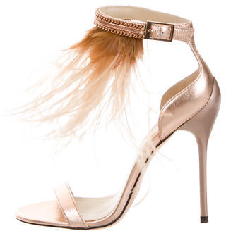 B Brian Atwood Feather Embellished Sandals $145 thestylecure.com