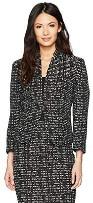 Nine West Women's Jacquard Kiss Front Jacket with Zip Pockets