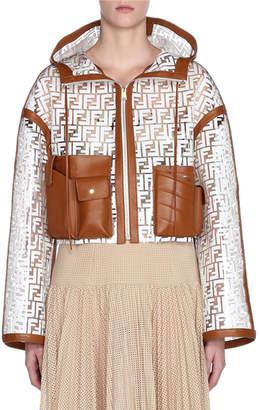 Fendi Leather Trim Logo-Jacquard Net Jacket