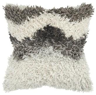 "Rizzy Home Decorative Throw Pillow Cover Chevron 20""X20"" Natural"