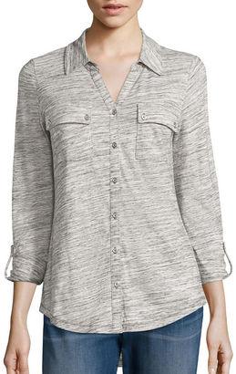 LIZ CLAIBORNE Liz Claiborne Long-Sleeve Button-Front Shirt - Tall $40 thestylecure.com