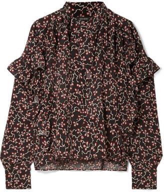 Isabel Marant Libel Ruffled Printed Silk Crepe De Chine Blouse - Black