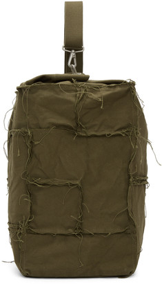 Junya Watanabe Green Canvas One Shoulder Backpack $360 thestylecure.com