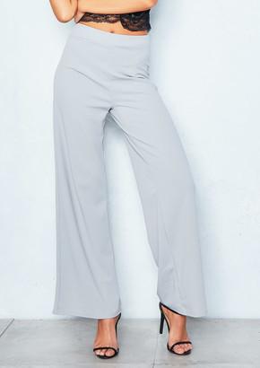 a49302360d05 Missy Empire Missyempire Kelsey Grey High Waist Wide Leg Trousers