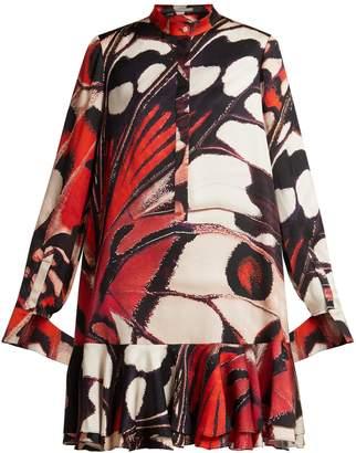 Alexander McQueen Butterfly-print silk-satin mini dress