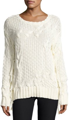 Bobeau Cable-Knit Sweater w/ Fringe, Cream $55 thestylecure.com