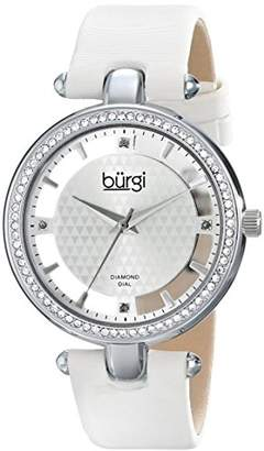 Burgi Women's Luxury Diamond and Crystal Watch with Translucent Outer Dial, and White Satin Band BUR104WTS