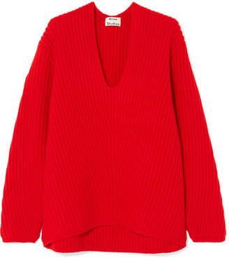 Acne Studios Deborah Ribbed Wool Sweater - Red