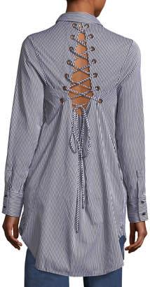 KENDALL + KYLIE Striped Lace-Back Shirtdress