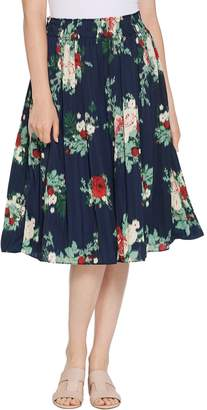 Denim & Co. Printed Pleated Midi Skirt