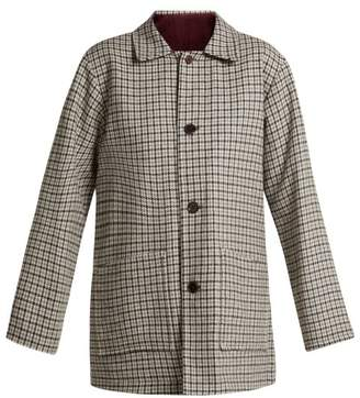 Chimala Checked Reversible Wool Blend Jacket - Womens - White Black