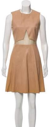 Cushnie et Ochs Leather Semi-Sheer-Accented Dress
