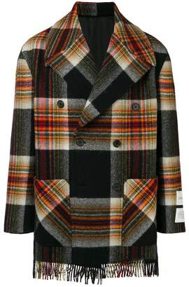 Calvin Klein double breasted plaid coat
