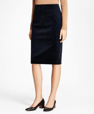 Brooks Brothers Stretch Cotton Corduroy Pencil Skirt