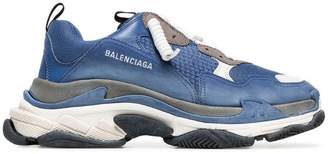 Balenciaga blue and white Triple S leather sneakers