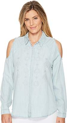 Miss Me Junior's Cold Shoulder Embroidered Chambray Long Sleeve Shirt