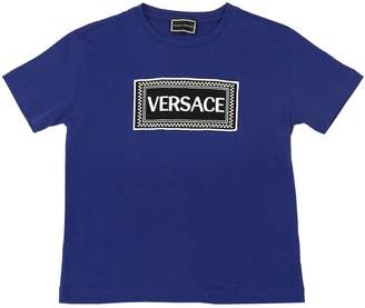 Versace Embroidered Logo Cotton Jersey T-Shirt