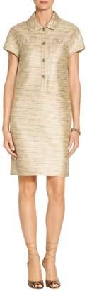 St. John Metallic Tweed Cap Sleeve Dress