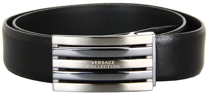 Versace Tumbled Patent Leather Belt (Black) - Apparel