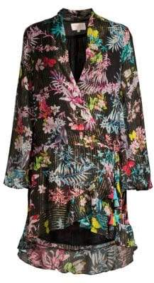 Rococo Sand Women's Floral Wrap Dress - Moonlight - Size Large