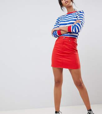 Asos Tall DESIGN Tall denim mini skirt in red