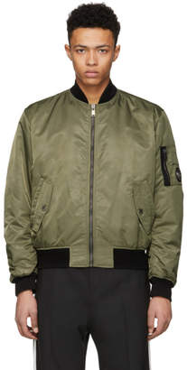 Versace Green Nylon Bomber Jacket